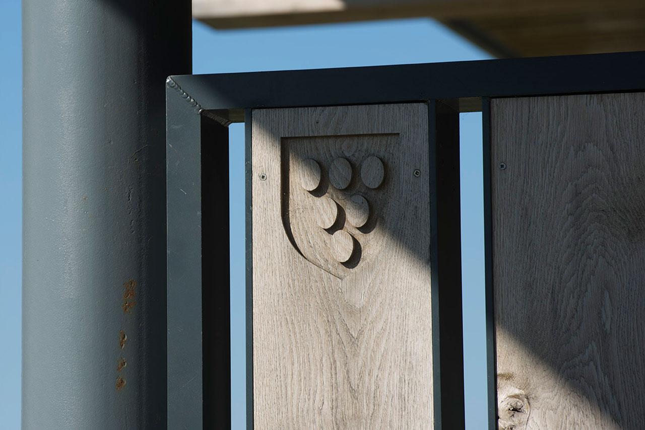 Rathfinny Signage CNC routed oak branding